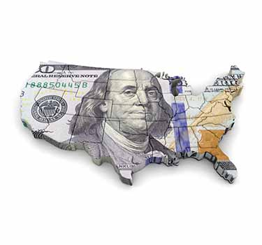 Map of the United States of America made out of a one hundred dollar bill